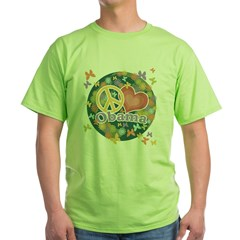 Peace Love Obama [globe] Green T-Shirt