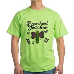 Butterfly Preschool Teacher Green T-Shirt