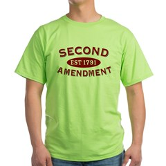 Second Amendment 1791 Green T-Shirt