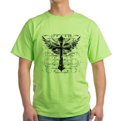 Winged Cross Green T-Shirt