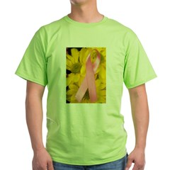 Pink Ribbon on Flowers Green T-Shirt