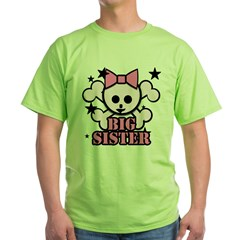 Pink bow skull big sister Green T-Shirt