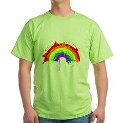 rainbow splatterD Green T-Shirt
