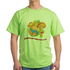 Groovy Anatolian Shepherd Dog Green T-Shirt