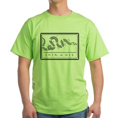 Join or Die Flag Green T-Shirt
