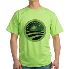 ObamaEarth-distressed on black Green T-Shirt
