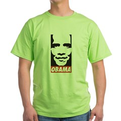 Comic Style Barack Obama Green T-Shirt