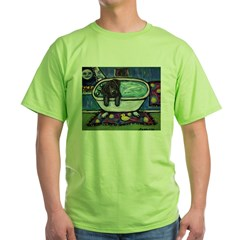 Black Labrador whimsical bath Green T-Shirt