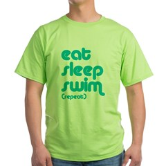 Eat, Sleep, Swim Green T-Shirt