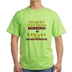 Husband & Golden Retriever Missing Green T-Shirt