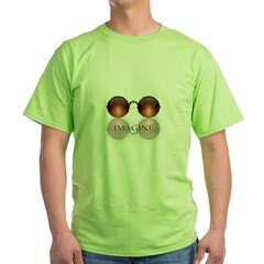 round glasses blk Green T-Shirt