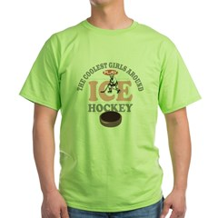 Coolest Girls Play Hockey Green T-Shirt