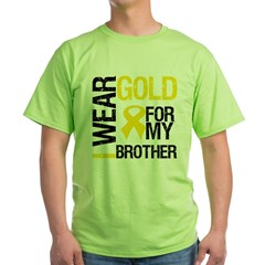 I Wear Gold For My Brother Green T-Shirt