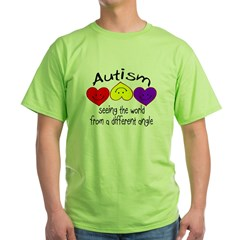 Autism, Seeing The World From A Different Angle Green T-Shirt