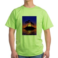 sunrise-sunset--palm-tree-s.jpg Green T-Shirt