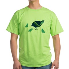 Quail Family Green T-Shirt