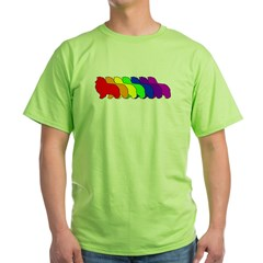 Rainbow Sheltie Green T-Shirt