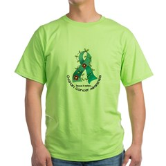 Flower Ribbon OVARIAN CANCER Green T-Shirt