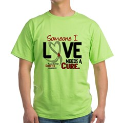 Needs A Cure 2 DIABETES Green T-Shirt