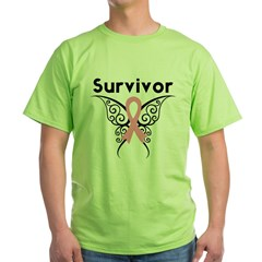 TribalButterflyBreastCancer Green T-Shirt
