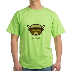 """Y is for Yak (Glasses)"" Green T-Shirt"