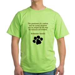 Gandhi Animal Quote Green T-Shirt