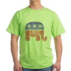 2-RepublicanLogoTexturedGreyBackgroundFadedTs Green T-Shirt