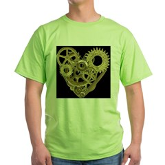Women's Steampunk Heart T-Shirt (black) Green T-Shirt