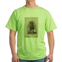 Cat Playing a Banjo Green T-Shirt