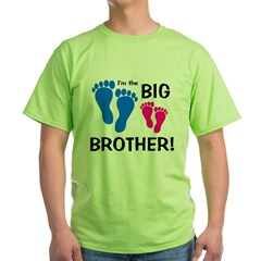 Big Brother Baby Footprints Green T-Shirt