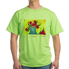 Red Tulips Green T-Shirt
