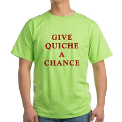 "Polymorph ""Give Quiche A Chance"" Red Dwarf Green T-Shirt"