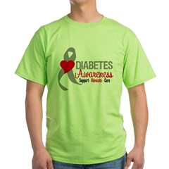 Diabetes Heart Ribbon Green T-Shirt