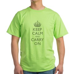 Keep Calm And Carry On (Shadow 999) Green T-Shirt