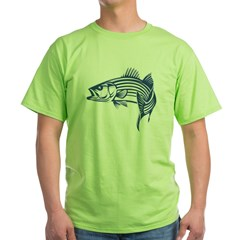 Graphic Striped Bass Green T-Shirt