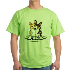 Too Cute Corgis Green T-Shirt