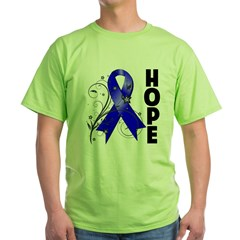 Floral Ribbon Colon Cancer Green T-Shirt