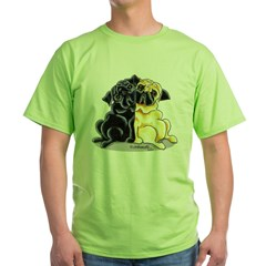 Black Fawn Pug Green T-Shirt