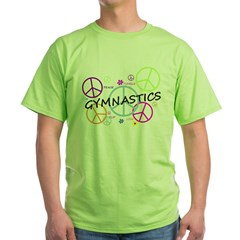 Colored Peace Signs Gymnastics Green T-Shirt