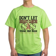 Dont Let Breast Cancer Steal 2nd Base Green T-Shirt