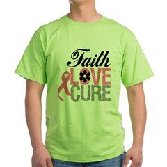 Faith Love Cure Breast Cancer Green T-Shirt