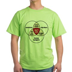 Zombies Honey Badgers Slacker Green T-Shirt