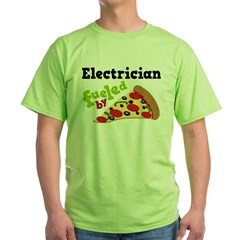 Electrician Funny Pizza Green T-Shirt