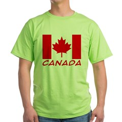 Canadian Flag Ash Grey Green T-Shirt