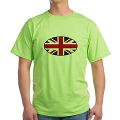 UK (Union Jack) Flag in Oval Green T-Shirt