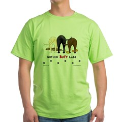 Labrador Butts with Sticks/Balls Ash Grey Green T-Shirt