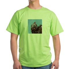 Tibetan Terrier xmas santa ha Ash Grey Green T-Shirt