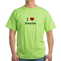 I LOVE OMARION Ash Grey Green T-Shirt