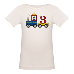 3 Year Old Birthday Train Organic Baby T-Shirt