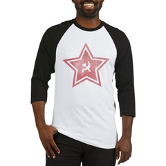 Red-Star-Faded-Blk Baseball Jersey